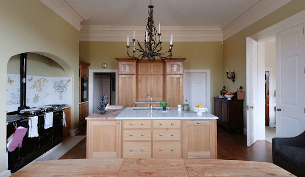 Shaker style kitchen designed by Robert Adam Architects in European Oak with a natural oiled finish